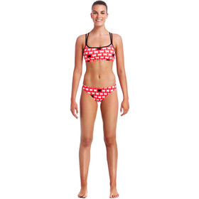 Funkita Criss Cross - Bikini Femme - rouge/blanc